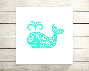 Floral Whale Vinyl Decal