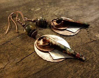 Mixed Metal Earrings, Hammered Metal Earrings, Metal Dangle Earrings