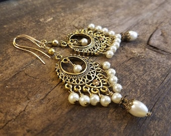 Boho Earrings, Chandelier Earrings, Pearl Earrings