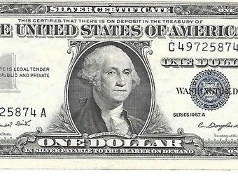 1957 A Silver Certificate 1 Dollar Bill C49725874A Crisp