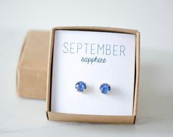 September Birthstone Earrings - Sapphire Crystal Studs - Birtstone Studs - Birthstone Earrings - Birthstone Jewelry - Birthstone Ear Studs