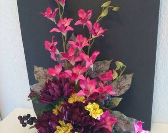 Dendrobium orchid and Dahlia silk flower floral arrangement