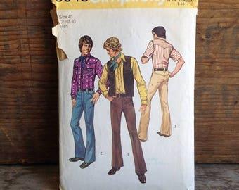 1972 Vintage Simplicity Men's Pattern. Pattern #5048. 1970's Men's Shirt, Vest and Pants. Vintage Men's Pattern. Vintage Sewing 70's Vintage