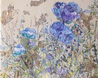 Small blue Floral painting Impasto - Original Oil painting by Shirley Thompson