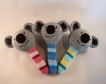 Amigurumi Koala Baby Rattle, Crochet Koala Baby Toy, Australian Animal, Baby Girl, Baby Boy, Gender Neutral, Baby Safe, Australian Made