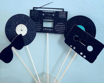 Retro 80's eighties glitter toppers  boombox cassette record sunglasses centerpiece decorations reunion birthday party favor costume