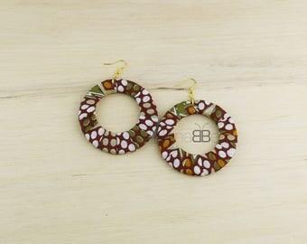 Boucles d'orelles ethniques, african fabric earrings, textile hoop earrings, fabric hoop earrings, créoles en tissu wax, ankara earrings