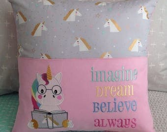 Pocket Book reading pillow/Unicorn reading book/pink and grey unicorn cushion cover