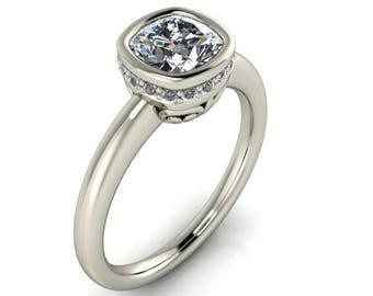 Cushion Cut Forever One Moissanite Engagement Ring, VS Diamonds, White Gold, Bezel Set Cushion Cut