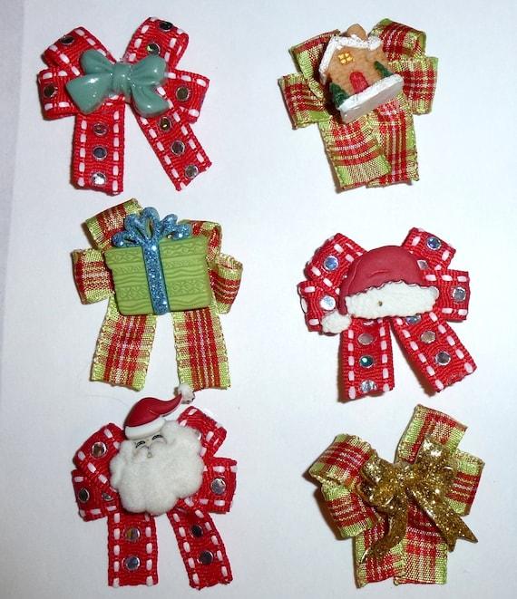 Puppy Bows ~6 green red christmas  EVERYDAY BOWS Yorkie Maltese Shih Tzu ~Usa seller (fb81)
