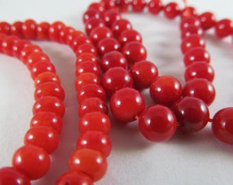 Red Round Beads / 2 Strands / Crafting Supplies / Beading Supplies