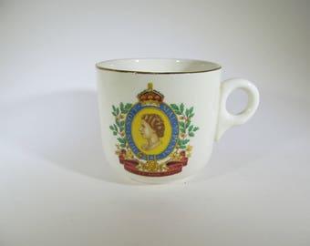 Vintage Souvenir Coronation Cup / Queen Elizabeth Commemorative Cup / 1950's Teacup / Royal Memorabilia