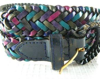 80s Leather Braided Belt Multicolored Medium Large