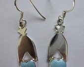 MOTHERS DAY SALE Beautiful Aaa Robins Egg Blue Dominican Larimar Earrings .925 Sterling Silver Petite & Simple Design Approx 1 5/8""