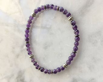 Amethyst beaded with Silver Stretch Bracelet