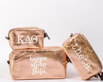 Kappa Alpha Theta Cosmetic Bag Set / Theta Travel Bag / KAO Sorority Cosmetic Bag Set of 3 / Theta Sorority Makeup Bag / Theta Pencil Bag