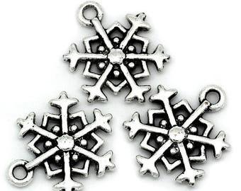 4 charms metal snowflake silver 18 x 15 mm