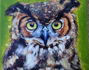 Owl Original Oil Painting - Illustration - Wall Art - Decor - Artwork - Nursery - Wildlife - Gift
