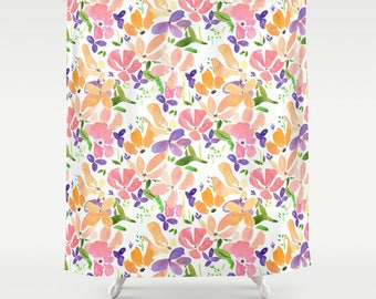 Floral Pattern Shower Curtain - Flowers - Fabric - beautiful bathroom ideas, makeover, watercolor floral, colorful, bright, clean remodel