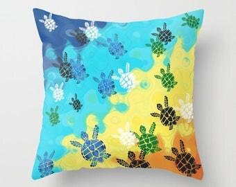Baby Sea Turtles Throw Pillow , cute, colorful, surfer style, blue, yellow coastal,  cushion, cute, sofa, bed, dorm, honu