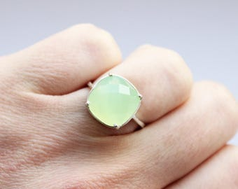 Cocktail Sterling Silver Ring with Gemstone Lime Green Mint Milky Quartz