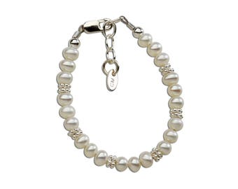 Sterling Silver and Freshwater Pearl New Arrival Baby Bracelet  Gift Comes with a Sweet Poem (NBB-01E)
