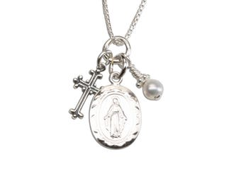 Sterling Silver First Communion Miraculous Necklace with Freshwater Pearl, Miraculous Medallion and Cross Charm with Gift Box  (112)