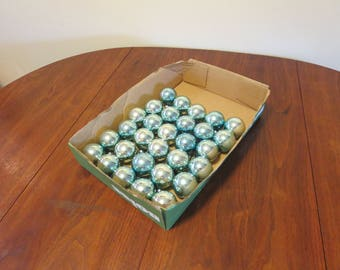 """lot 30 vintage 1960s glass Christmas tree decorations ornaments silver blue 2 1/4"""" diameter made in U.S.A. (121016)"""