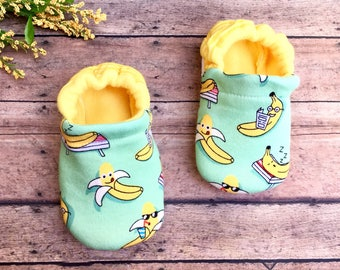 Silly Bananas Baby Moccasins - Baby + Toddler Soft Sole Fruit Shoes - Summer Yellow Booties - Gender Neutral Baby Gift - Banana Baby