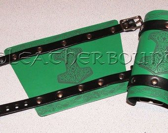Leather Bracers in Green and Black with engraved Norse Thor's Hammer image