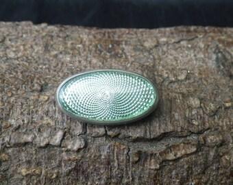 Silver Mounted Green Guilloche Enamel Brooch Pendant