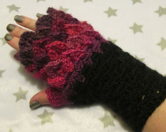 Dragon Scale Fingerless Crochet Gloves - Purple, Pink, Red, Violet