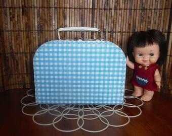 Vintage Child's Small Blue Suitcase - Vintage Doll Luggage - 1950's - 1960's Doll Toy Suitcase - Blue Cardboard Doll Clothing Case