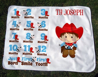 Personalized Cowboy Monthly Baby Blanket - Cowboy Growth Chart Blanket - Baby Month Blanket - Western Baby Photo Prop - Baby Shower Gift