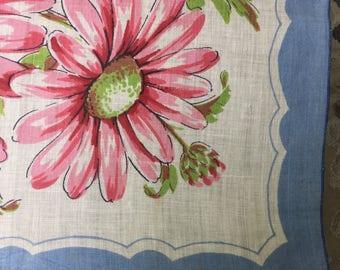 Sale Handkerchief Pink Daisies Blue Border Mid Century Retro