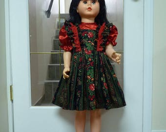 "UniKaren Designs DOLL dress Patti Playpal Companion 35"" 36"" doll, matching bloomers, bib & ruffles"