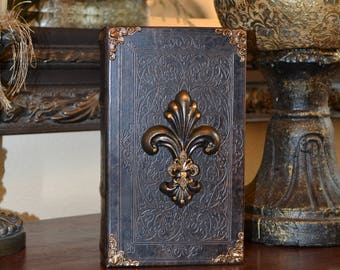 Old World Tuscan Embellished Storage Book Box w/ Decorative Fleur de Lis and Swarovski Crystal Accents