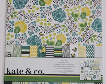 "Kate & Co. ""Oxford Lane"" 12"" x 12"" Paper Kit, buttons, enamel dots and extra journal page"