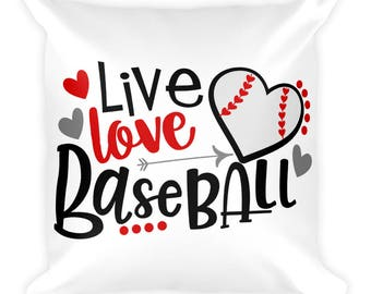 Live Love Baseball Square Pillow, Double Sided
