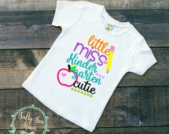 Little Miss Kindergarten Cutie Kid's T-Shirt- First Day of School T-Shirt- First Day of Kindergarten Shirt- Girl's Kindergarten T-Shirt