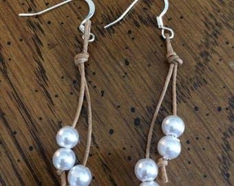 Leather Cord & Bead Drop Earrings