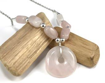 Rose Quartz Gemstone Necklace, Semi precious Stone Necklace, Pink Gemstone Necklace with Round Pendant, Pink and Silver Necklace, Quartz