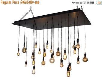 FLASH SALE Oversized Rustic Chandelier - Wedding Lighting, Event Lighting, Industrial Chandelier With Bare Bulb Pendants