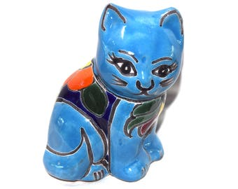 Mexican Talevera Cat - Blue