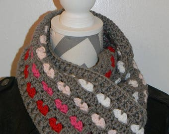 Crochet adult Heart infinity scarf