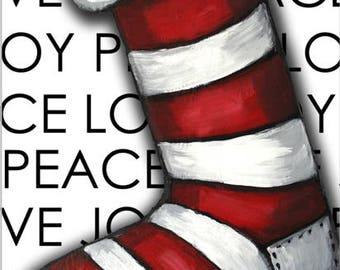 """Joy Peace Love Stocking original acrylic painting 11""""x14"""" gallery wrapped canvas white, red, black"""