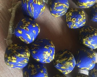 Ghana New producation powder glass Africa trade beads eggs shaped beads 24""