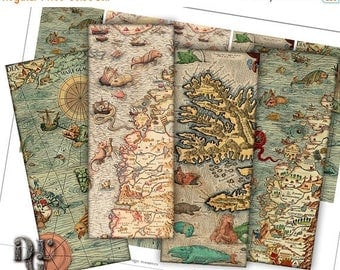40% ANTIQUE MAPS Bookmarks Digital Collage - Medieval Nautical Charts Collage Sheet, Instant Download  Scrapbook Printable Bookmarks S_006