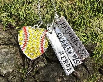 Rhinestone Softball Heart Pendant with Personalized Tag Handstamped Necklace or Keychain - Handmade Crystal Hand Stamped Sport Mom Player