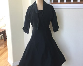 Vintage 1950's Black Dress with Matching Jacket Bolero